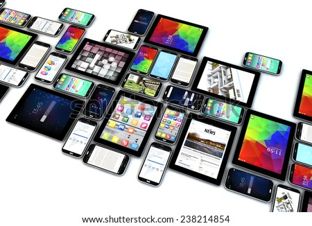 digital communication technology business concept: collection of tablet and smartphones with colorful interfaces isolated on white background - stock photo