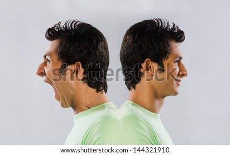 Digital composite image of a man yelling at self - stock photo