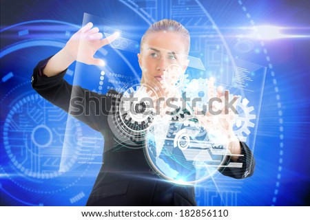 Digital composite of blonde businesswoman touching interface with earth