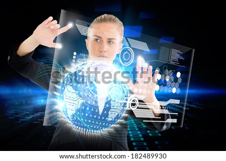Digital composite of blonde businesswoman touching interface with earth, Elements of this image furnished by NASA - stock photo