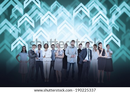 Digital composite of business team against arrow background