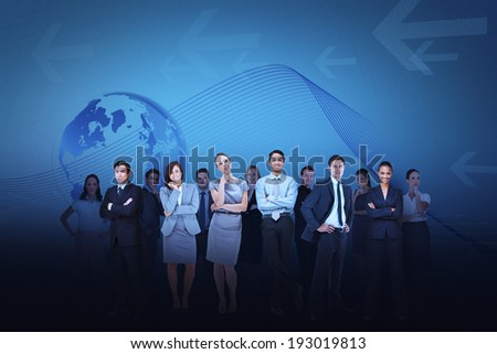 Digital composite of business team against blue earth background
