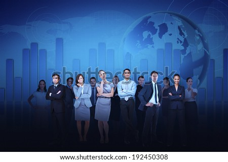 Digital composite of business team against blue graph background - stock photo