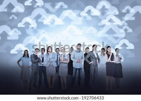 Digital composite of business team against cloud computing background