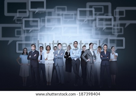Digital composite of business team against speech bubble background - stock photo