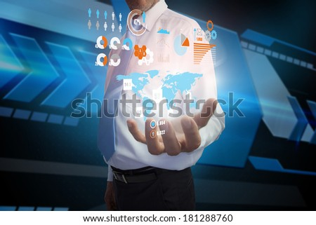 Digital composite of businessman presenting interface