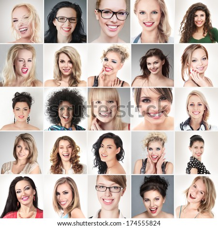 Digital composite of faces different happy smiling young people - stock photo