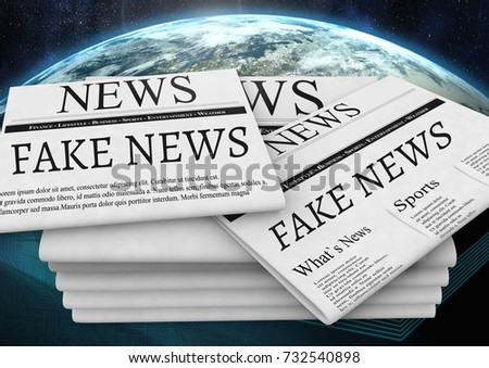 Digital composite of Fake news text on newspaper stack over planet earth world