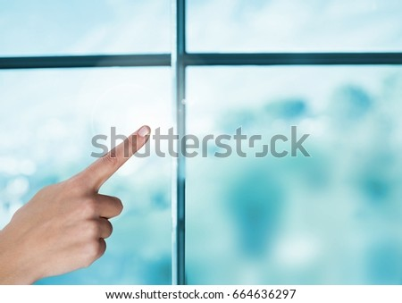Digital composite of Hand pointing in air by window