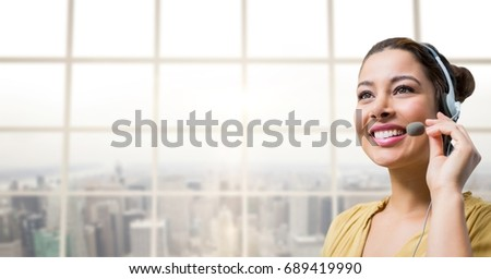 Digital composite of Happy customer care representative woman against city background