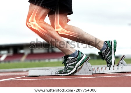 Digital composite of Highlighted bones of man about to race - stock photo