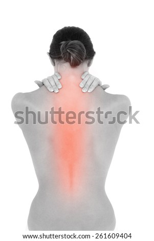 Digital composite of Highlighted neck pain of woman - stock photo