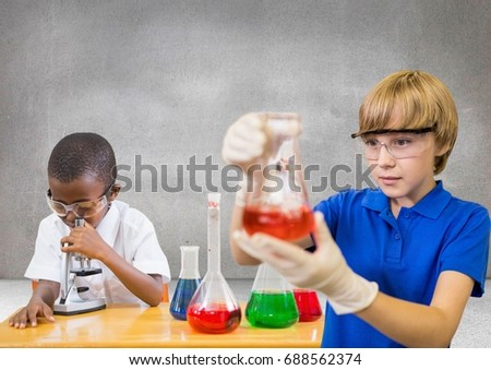 Digital composite of Science kids with blank grey background
