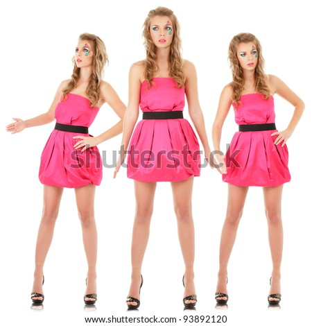 Digital composite of small group fashion models in pink mini dress posing like doll - stock photo