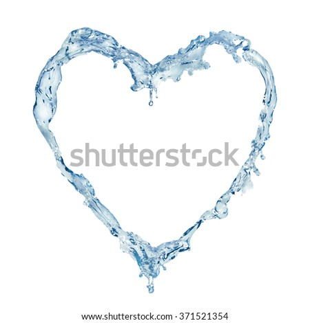 Digital Composite of various splashes of water forming liquid heart shape