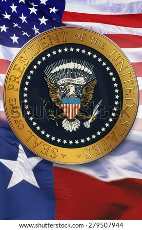 Digital composite: The official seal of the President, American flag, state flag of Texas - stock photo