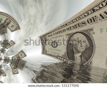 Digital Composition of kaleidoscopic Dollar Bills - stock photo