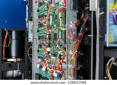 Digital computer circuit board with mechanics processor and wires - stock photo