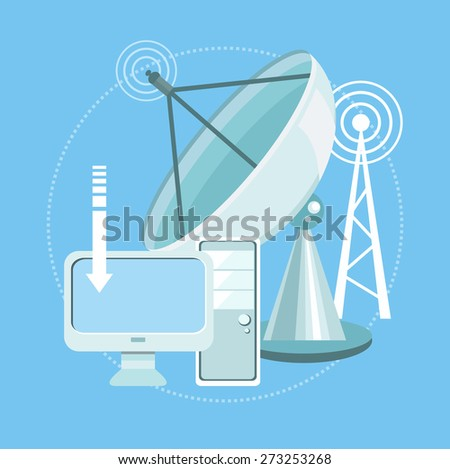 Digital concept of satellite dish transmission data. Wireless icons for wifi remote control access and radio communication. For web banners, marketing and promotional materials. Raster version - stock photo