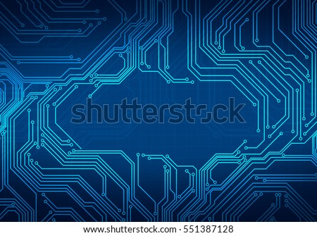 Digital conceptual image circuit microchip on dark blue background for branding, graphic design,wallpaper