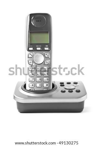digital cordless answering system isolated on white - stock photo