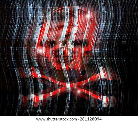 digital crime concept illustration with skull - stock photo