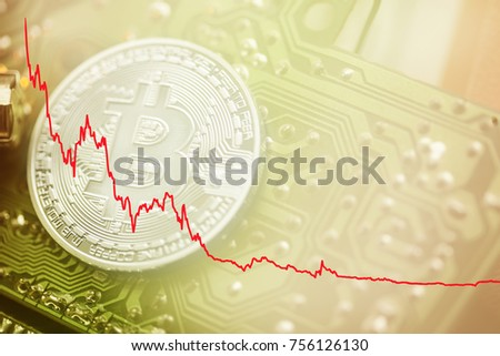 Digital cryptocurrency investment. red negative trend of the bitcoin stock market.