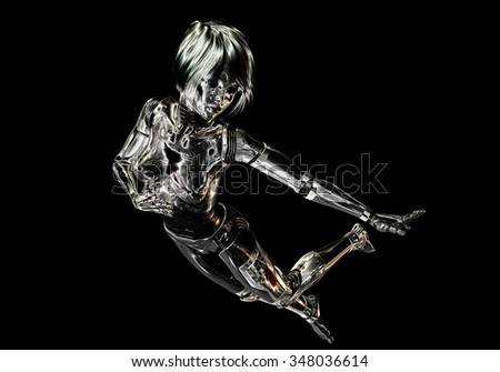 Digital 3D Illustration of a female Cyborg - stock photo