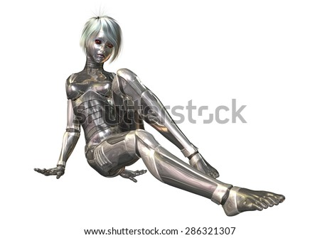 Digital 3D Illustration of a female Cyborg; Cutout on white Background
