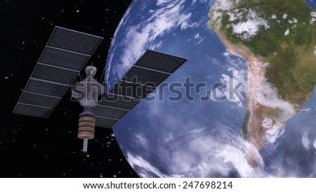 Digital 3D Illustration of a Satellite, Elements of this image furnished by NASA - stock photo