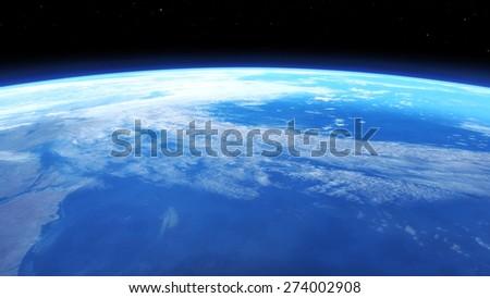 Digital 3D Illustration of a Space Scene, no NASA Image - stock photo