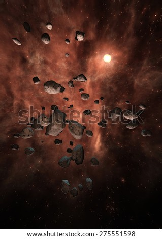 Digital 3D Illustration of a Space Scene, no NASA Image - stock photo