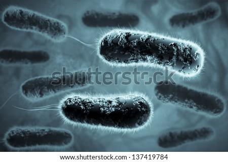 Digital 3D illustration of bacteria - stock photo