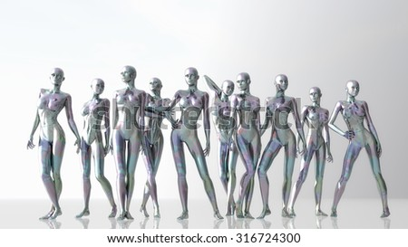 Digital 3D Illustration of Manikins