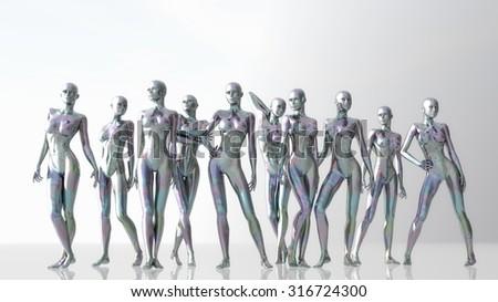 Digital 3D Illustration of Manikins - stock photo
