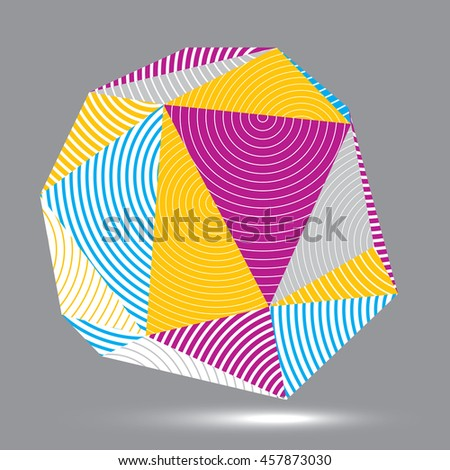 digital 3d striped abstraction, geometric polygonal element. Spatial technological colorful shape, three-dimensional object. - stock photo