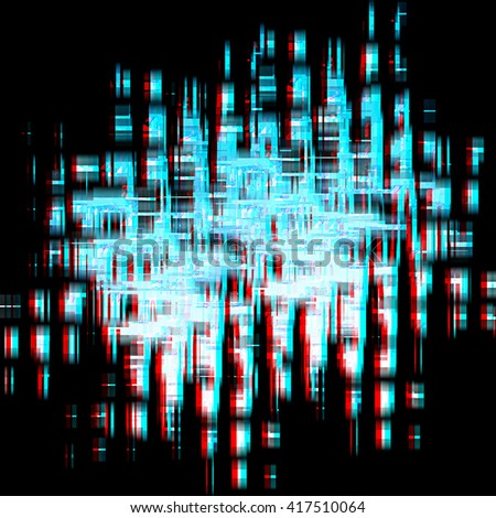 digital darkness background (white and blue).  Anaglyph. View with red/cyan glasses to see in 3D. - stock photo