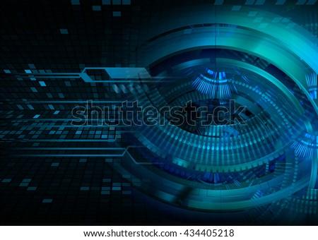 digital data background,blue abstract light hi tech pixel internet technology, Cyber security concept, Cyber data digital computer, eye scan virus - stock photo