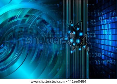 digital data background,blue abstract light hi tech pixel internet technology, Cyber security concept, Cyber data digital computer. eye scan virus, motion move speed - stock photo