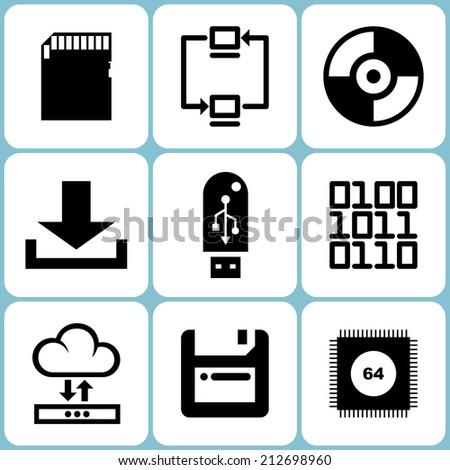 Digital data icons illustration raster version - stock photo