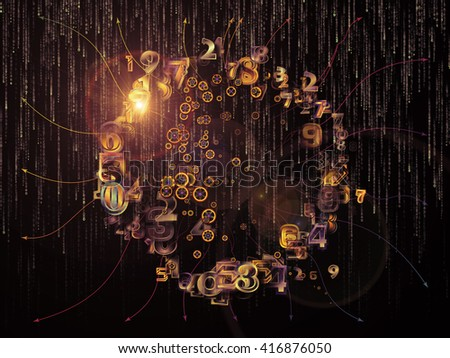 Digital Data series. Interplay of numbers and design elements on the subject of science, education and modern technology - stock photo