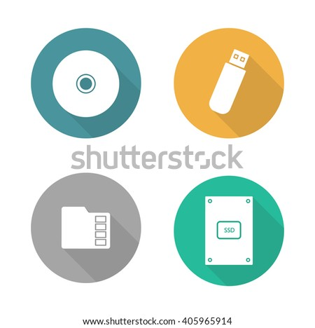 Digital data storage devices flat design icons set. Cd disc, pocket usb flash drive, memory sd card, external hdd. Long shadow logo concepts. Computer hardware equipment. Raster illustrations  - stock photo