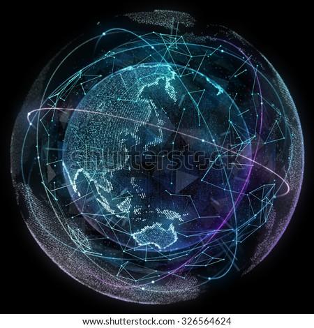 Digital design of a global network of Internet. - stock photo