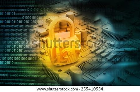Digital design of circuit board with Closed Padlock - stock photo