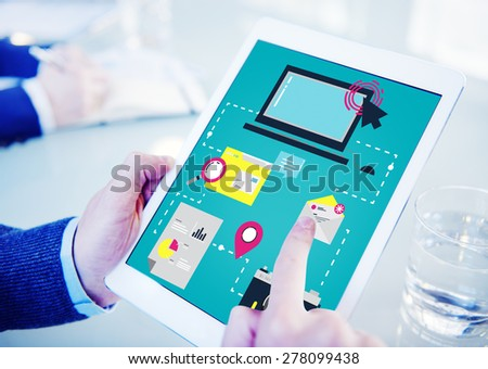 Digital Device Computer Connecting Internet Online Concept - stock photo
