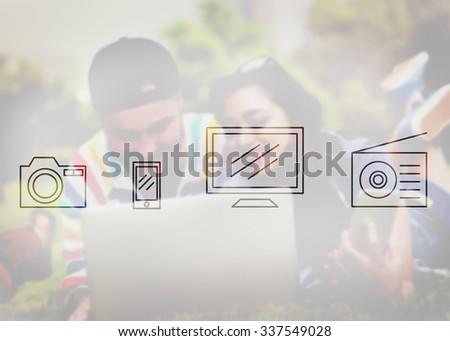 Digital Device Icon Multimedia Sign Concept - stock photo