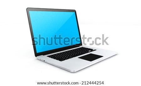 Digital device labtop on white background.