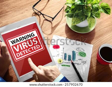 Digital Device Wireless Browsing Warning Virus Detected Concept - stock photo