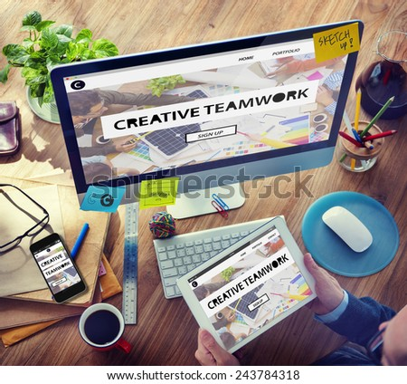 Digital Devices Vision Creative Teamwork Tactic Ideas Concept - stock photo