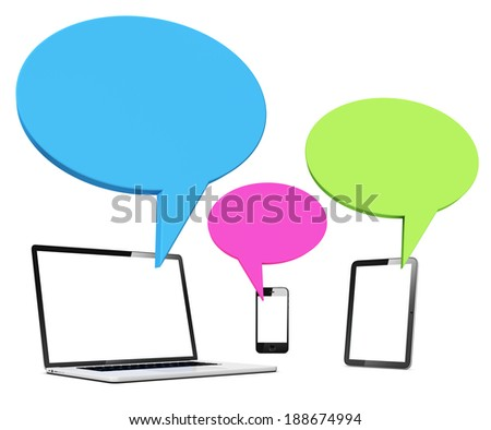 Digital Devices With Speech Bubbles - stock photo